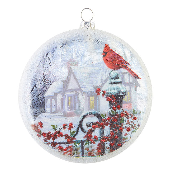 Cardinal on Post Disc Ornament