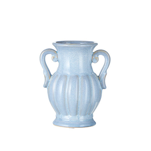Reactive Glaze Fluted Handled Vase