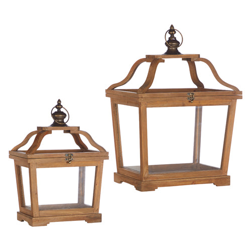 Short Curved Wood Top Lantern