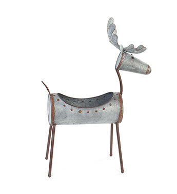 Galvanized Deer Planter