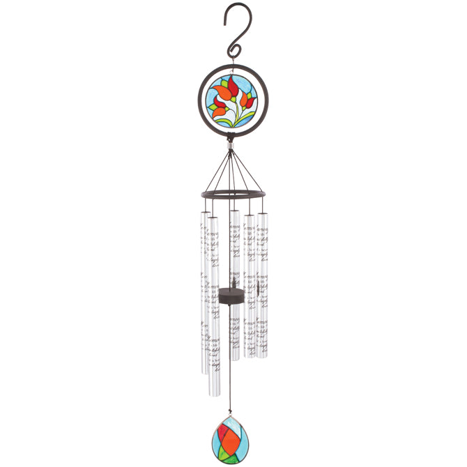 "35"" In Memory Stained Glass Windchime"