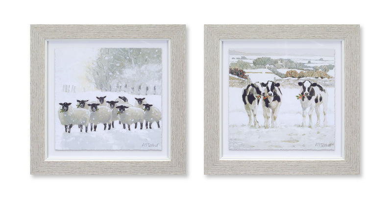 Winter Sheep and Cow Prints