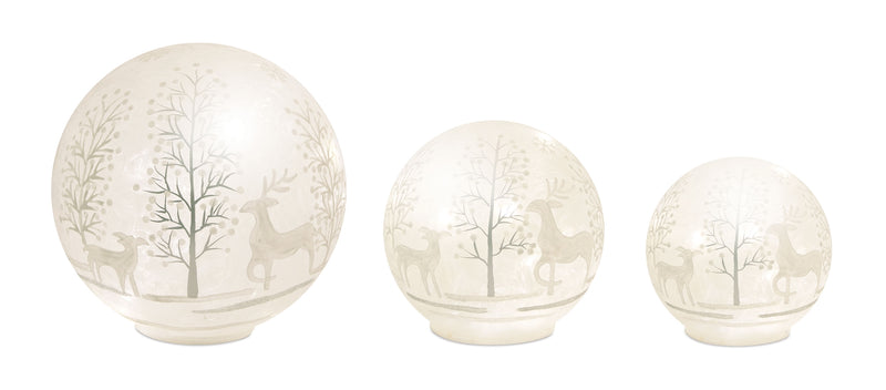 Light Up Deer and Tree Globe