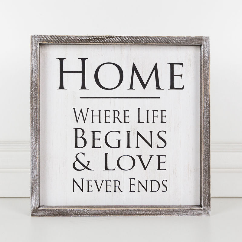 Home Where Life Begins and Love Framed Sign