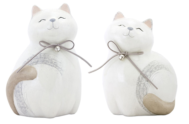 White Terra Cotta Cat With Bell