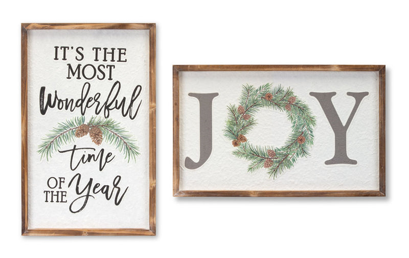 Words with Pine Cone Accent Christmas Plaque