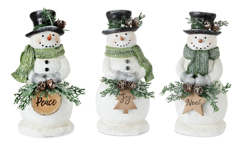 Winter Snowman Figurine with Pine Cone Accent