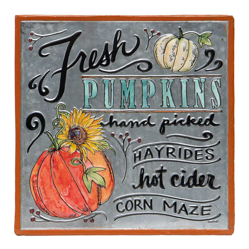 "SQUARE METAL ""FRESH PUMPKINS"" SIGN"