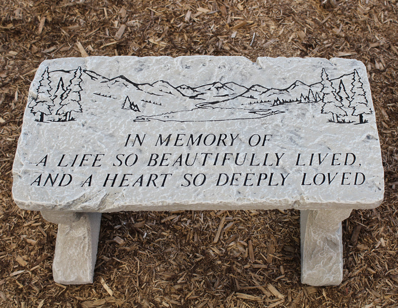 """A Life So Beautifully Lived"" Stone Bench"