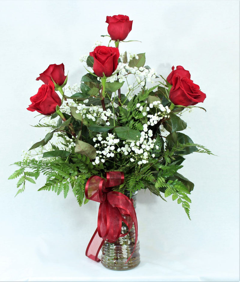 Six Red Rose Flower Bouquet