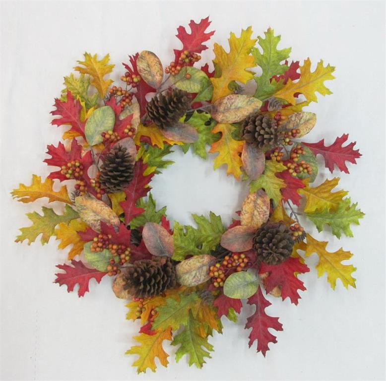 "24"" Autumn Oak, Magnolia, & Berry Wreath"