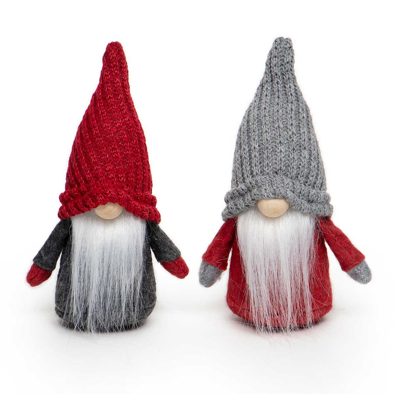 RED/GREY GNOME WITH KNIT HAT