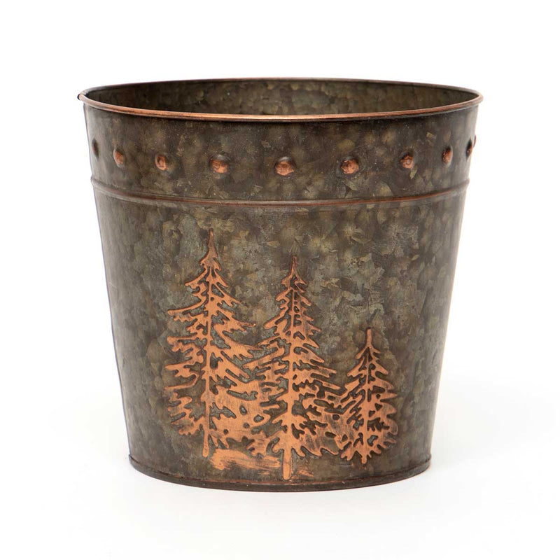 Bronze Finished Metal Pots with Embossed Trees