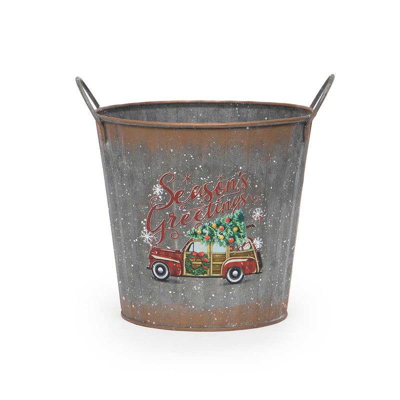 ROUND METAL CAR BUCKET WITH HANDLES