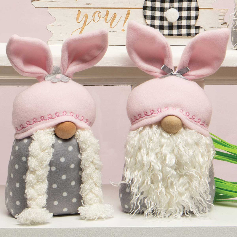 Button and Bows Bunny Gnome with Pink Ears