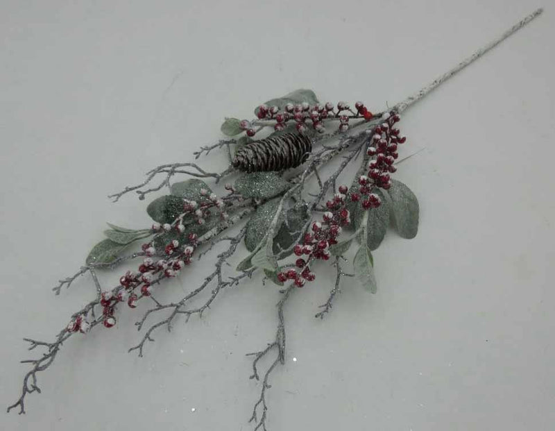 Frosty Lamb's Ear and Red Berry Spray