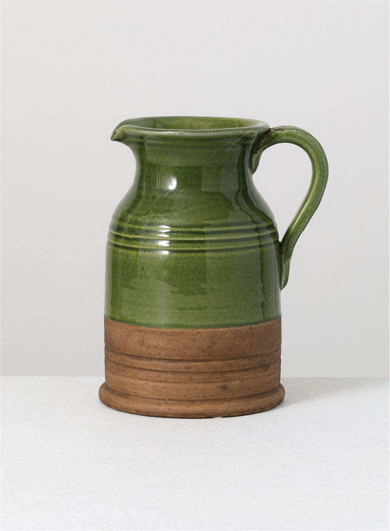 Two Tone Green Ceramic Pitcher