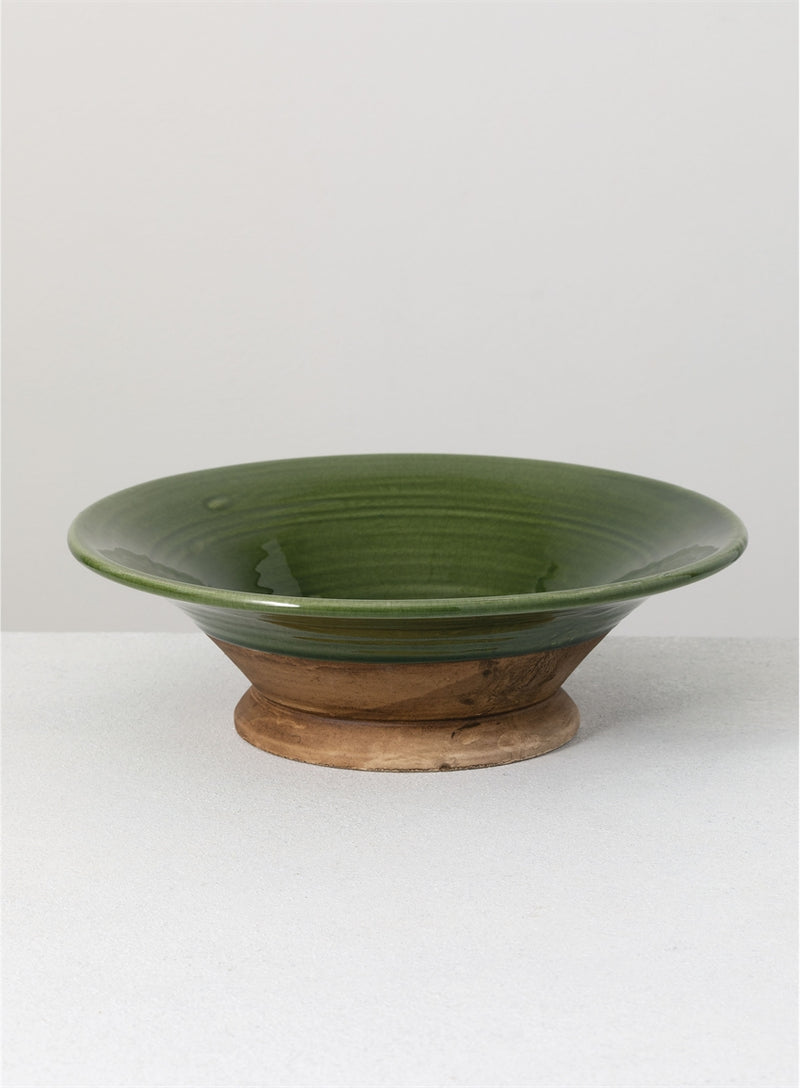 Two Tone Green Ceramic Bowl