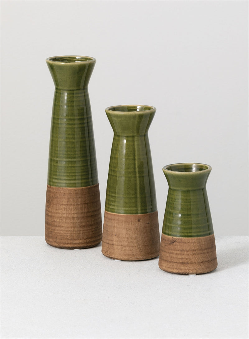 Two Tone Green Ceramic Vases