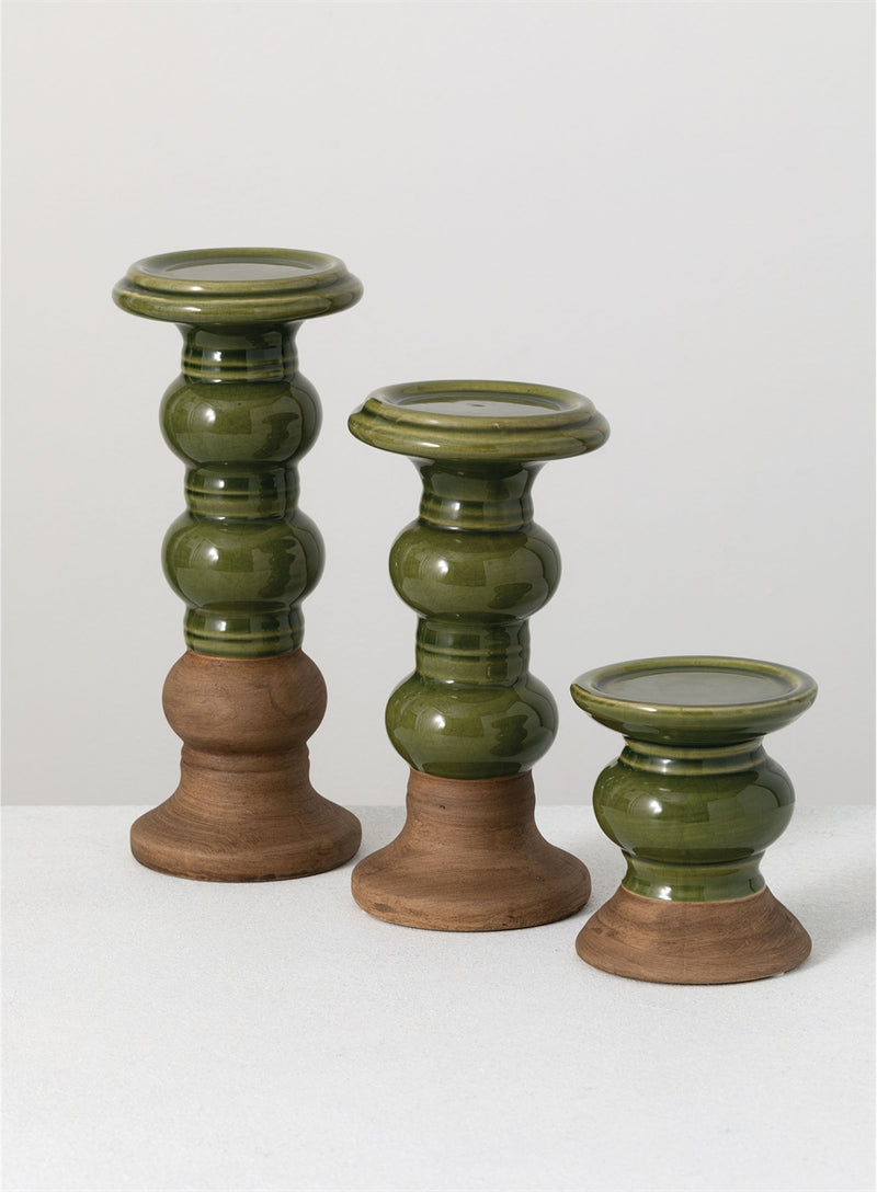 Two Tone Green Ceramic Candlesticks