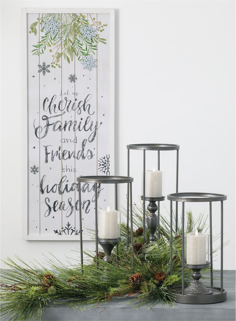 Hurricane Glass Metal Candle Holders