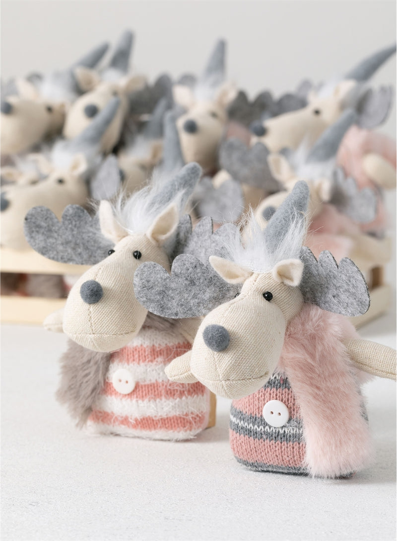 Plush Whimsical Moose Ornaments