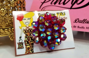 Toxique Tiki Red Sparkly Brooch