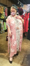 Load image into Gallery viewer, Light pink tropical caftan, full length, tie front with tassels.
