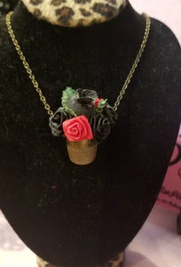 Vintage Thimble with Black and red Satin Roses Necklace
