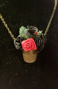 Revivalism Vintage Thimble with Black and Red Satin Roses Necklace