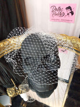 Load image into Gallery viewer, Birdcage veil, made of 8 inch Russian netting. Attaches with secure pop comb clip.  Ivory.