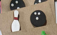 Load image into Gallery viewer, hand painted wooden bowling themed stud earrings.  One bowling pin, one bowling ball.