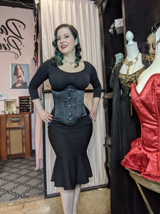 Mom's Closet Black Satin Steel boned Underbust Corset