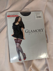 Mom's Closet Glamory Deluxe 20 black lace top hold ups