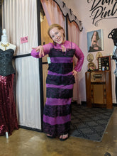 Load image into Gallery viewer, Savannah Hoffman vintage purple and black striped lounging gown