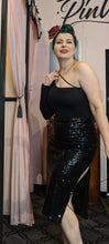 Load image into Gallery viewer, Black sequined pencil skirt with a slight stretch. Side slit and back zipper