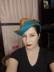 Dream Hats Amber / Teal Ship to Shore Hat (Brooch sold separately)