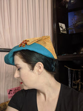 Load image into Gallery viewer, Dream Hats Amber / Teal Ship to Shore Hat (Brooch sold separately)
