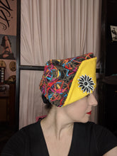 Load image into Gallery viewer, Dream Hats multicolored yarn/yellow cotton ship to shore hat (brooch sold separately)