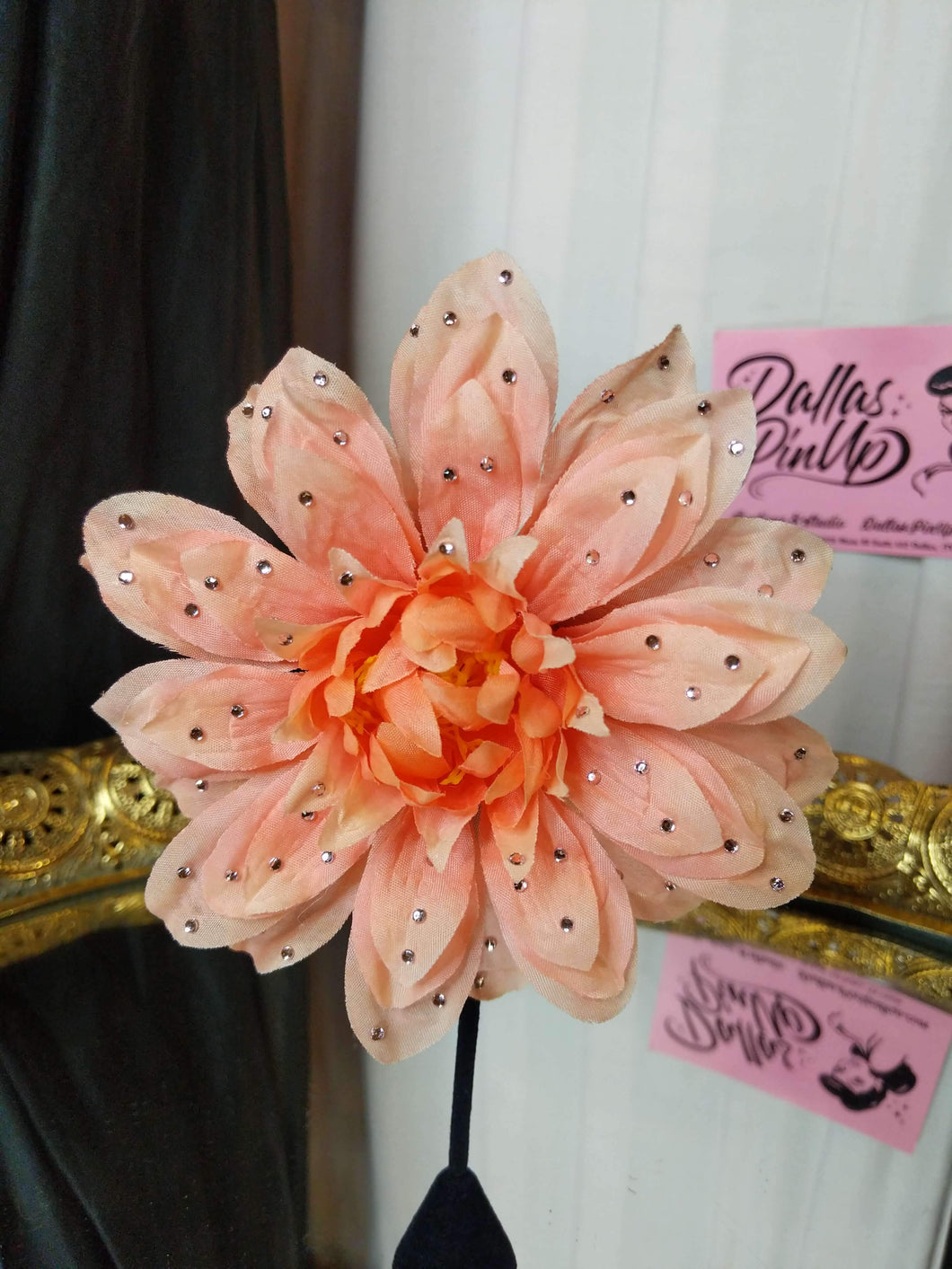 Peach Dahlia hair flower covered in tiny crystal rhinestones. Super sparkly! Attaches with smooth clip.