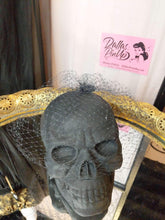 Load image into Gallery viewer, Birdcage veil, made of 8 inch Russian netting. Attaches with secure pop comb clip. Black.
