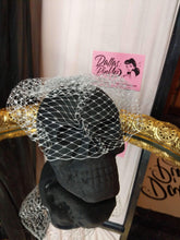 Load image into Gallery viewer, Birdcage veil, made of 8 inch Russian netting. Attaches with secure pop comb clip. Metallic Silver.