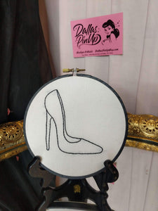 Stilletto Heel Embroidery Hoop Art