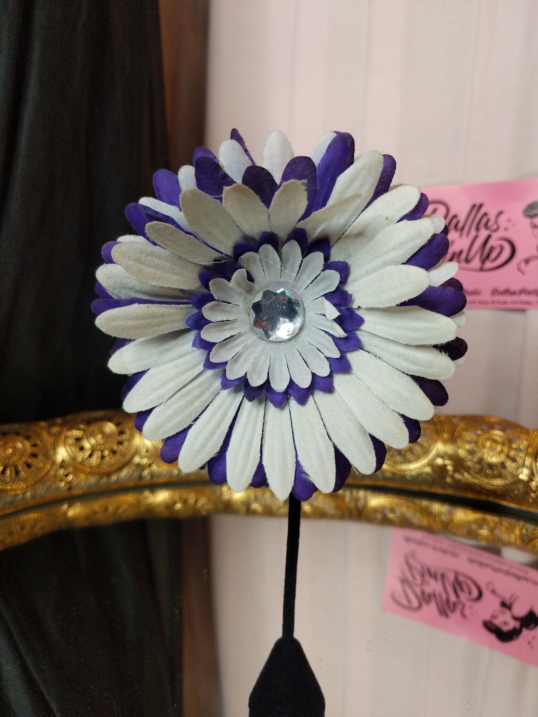 Purple and white daisy with rhinestone accent hair flower clip.