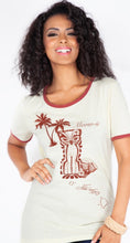 Load image into Gallery viewer, White and brown ringer tee with tiki kitty and hawaiian drawings