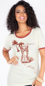White and brown ringer tee with tiki kitty and hawaiian drawings