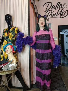 Savannah Hoffman vintage purple and black striped lounging gown