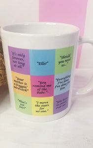 Coffee mug with a variety of quotes from the classic movie, Labyrinth.  Let your coffee remind you of the babe every day!