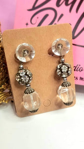 Toxique Tiki Vintage Transluscent and Rhinestone Beaded Clip On Dangle Earrings