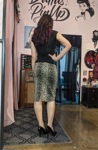 Billie Jo Retro Pencil Skirt - Leopard